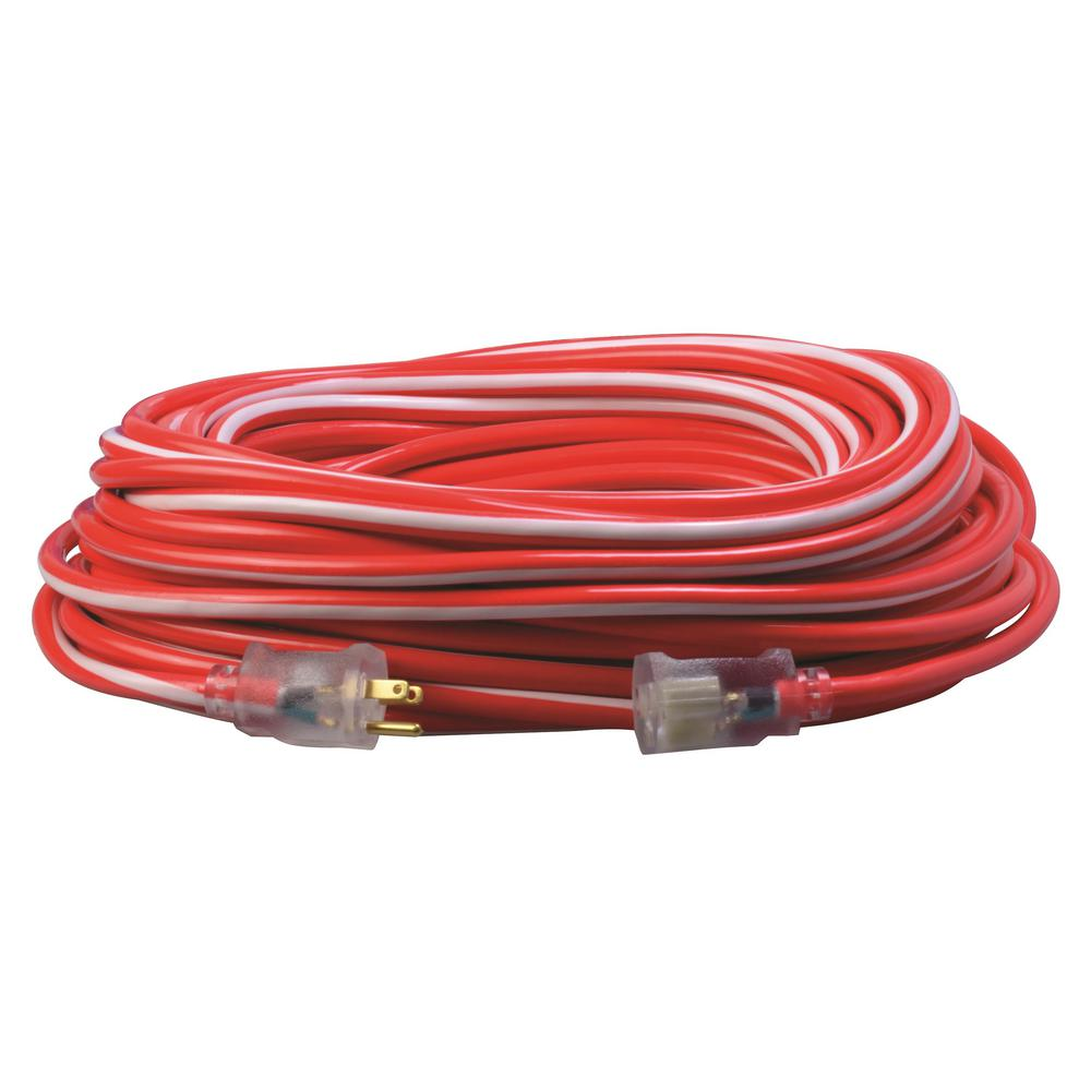 Southwire Southwire 100 ft. 12/3 SJTW Hi-Visbility Multi-Color Outdoor Heavy-Duty Extension Cord with Power Light Plug, Red/White