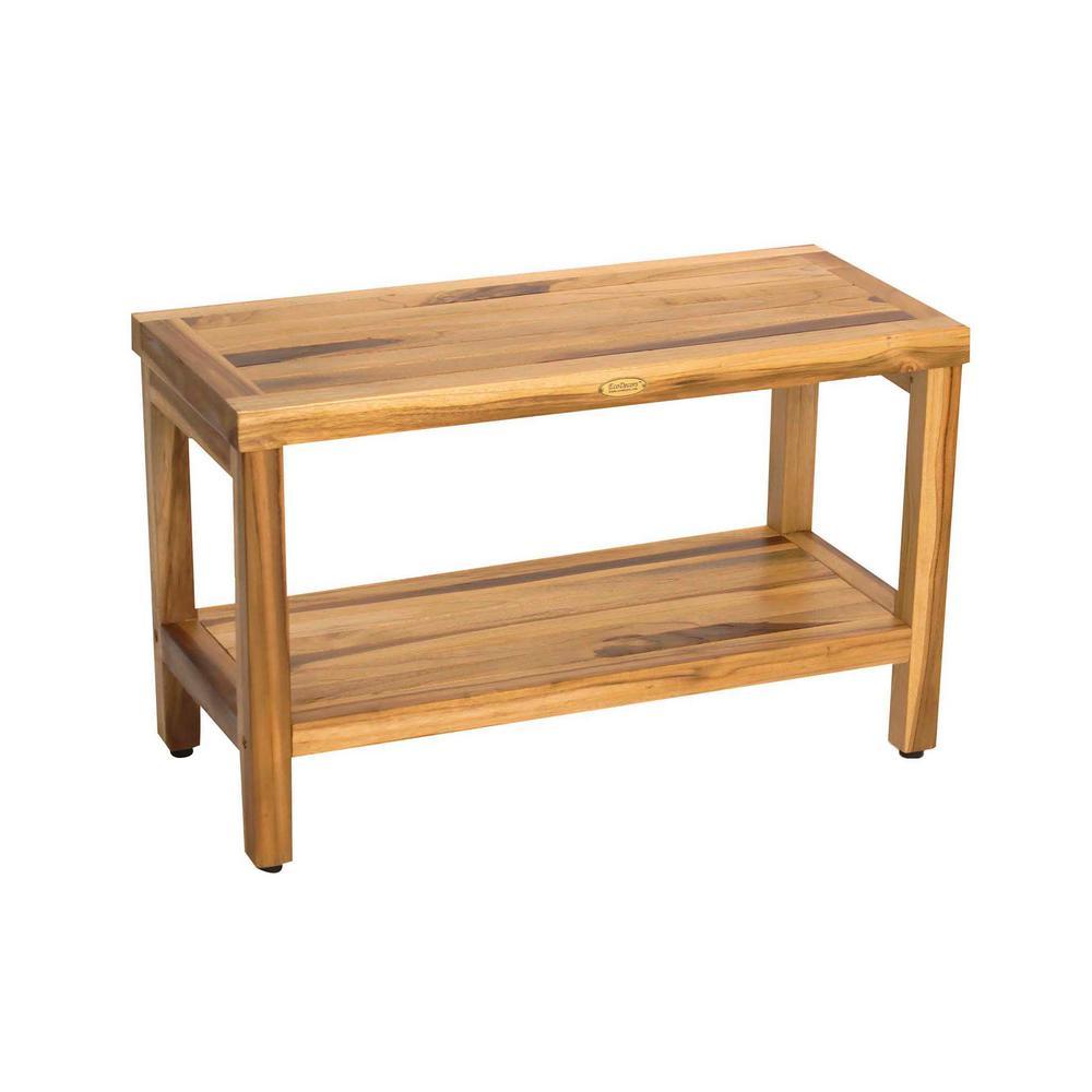 EarthyTeak Classic 29 in. Teak Shower Bench with Shelf