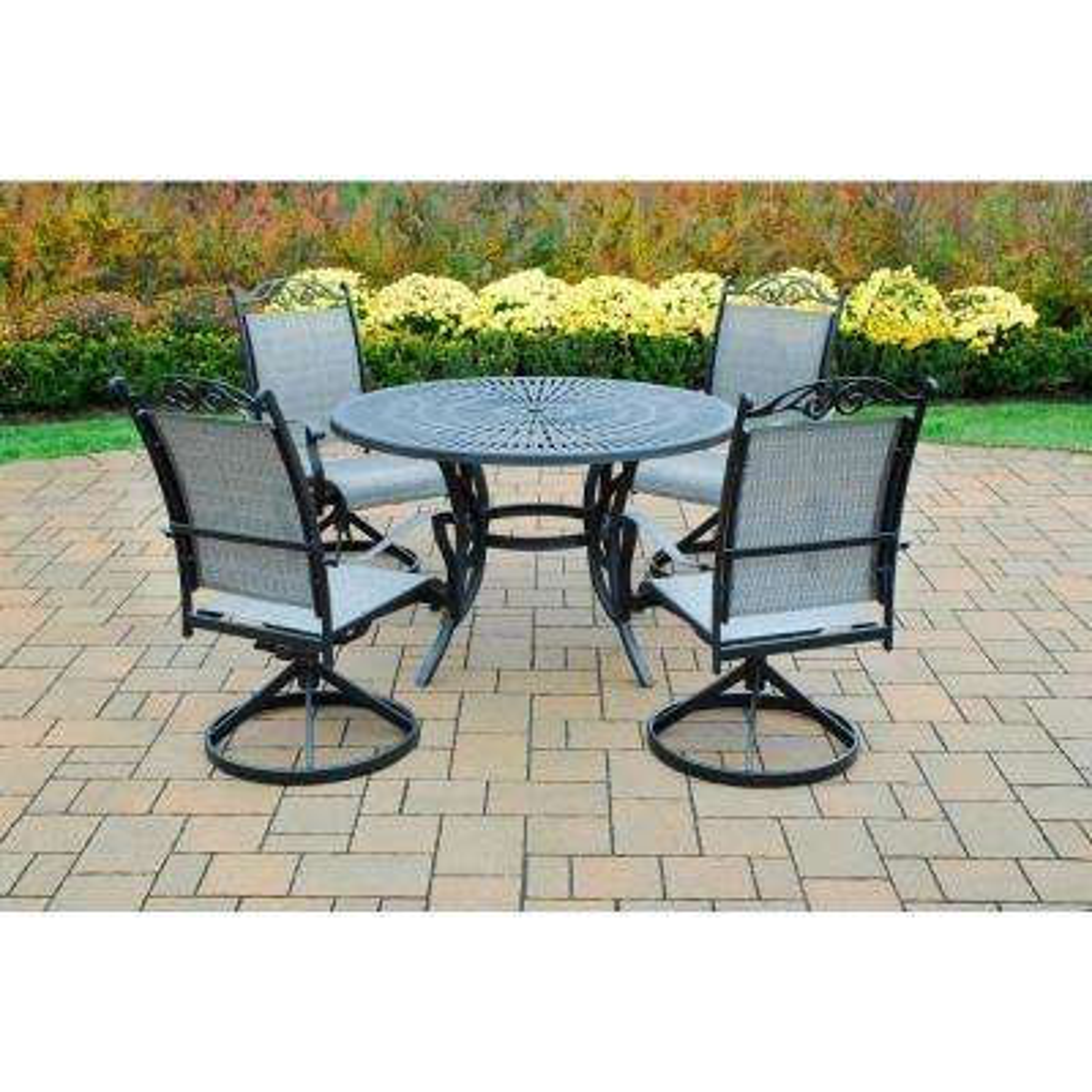 Sunray Cascade Black 5-Piece Aluminum Outdoor Dining Set