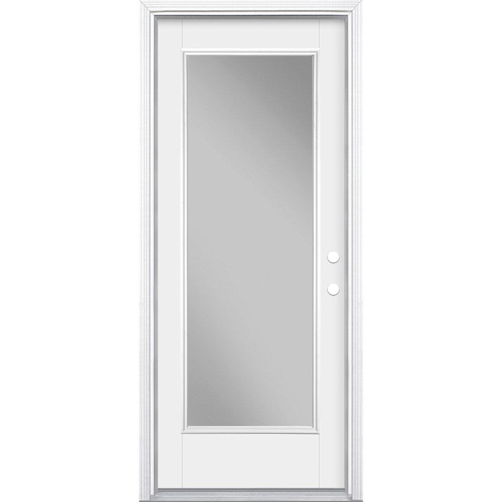 Masonite 32 in. x 80 in. Primed White Left-Hand Inswing Clear Full Lite Fiberglass Prehung Front Door with BM in Vinyl Frame