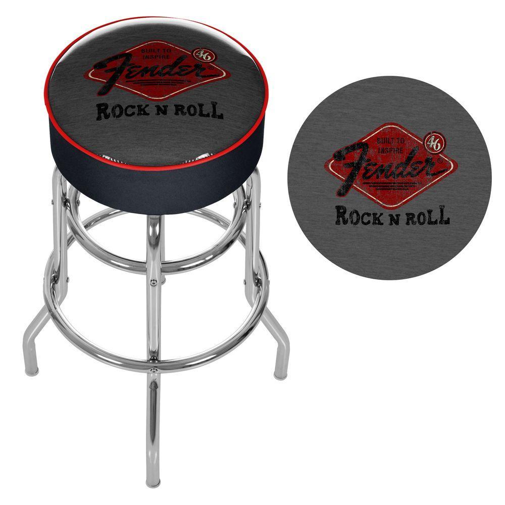 Trademark Fender Rock N Roll Black Padded Swivel Bar Stool