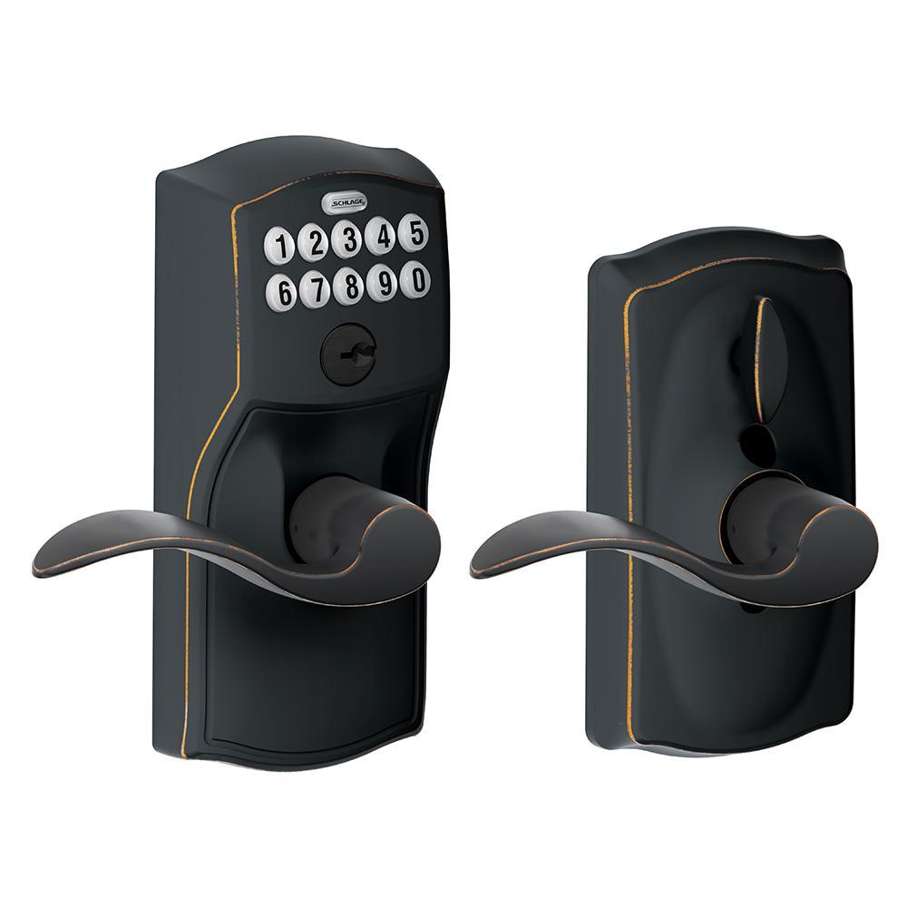 Schlage Camelot Aged Bronze Electronic Door Lock with Accent Door Lever Featuring Flex Lock