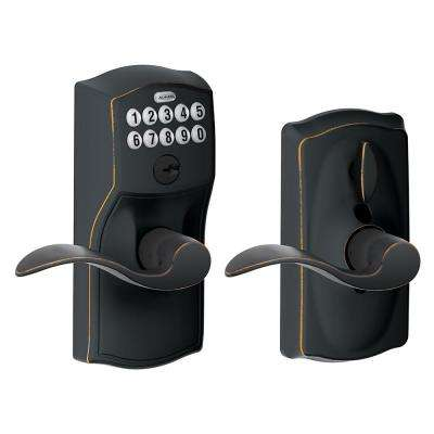 Accent Aged Bronze Keypad Electronic Door Lever with Camelot Trim Featuring Flex Lock
