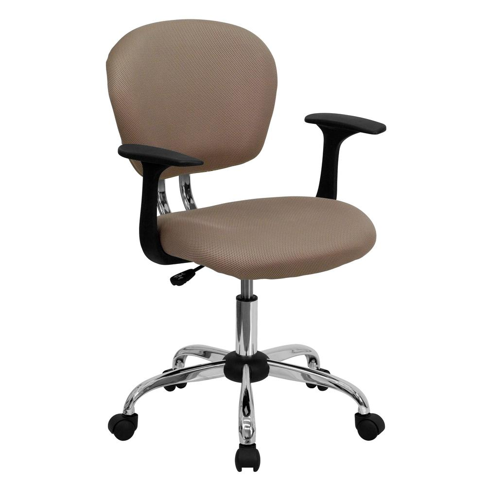 Bon Flash Furniture Mid Back Coffee Brown Mesh Swivel Task Chair With Chrome  Base And Arms