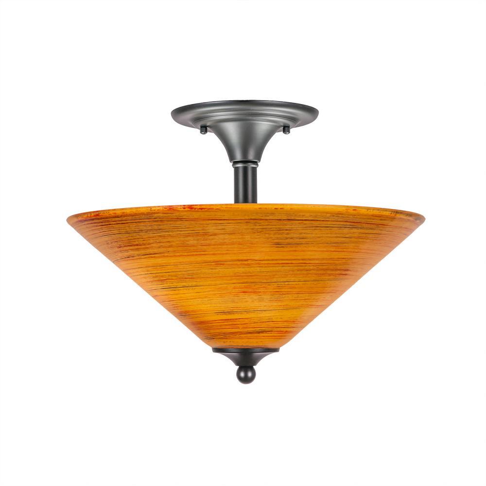 16 in. 2-Light Matte Black Semi-Flush Mount with Firr Saturn Glass