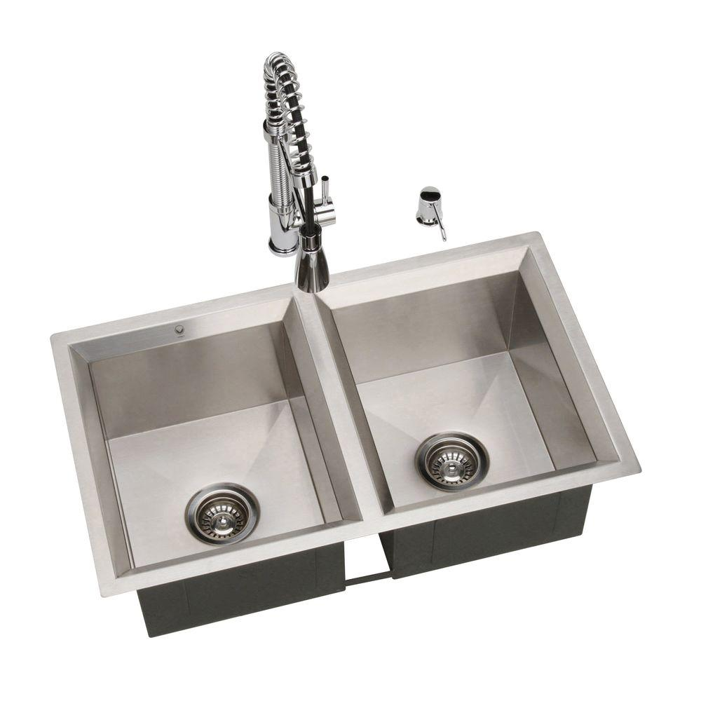 Vigo Undermount Stainless Steel 32 in. L x 19 in. D x 9-7/8 in. H 0-Hole Double Basin Kitchen Sink-DISCONTINUED