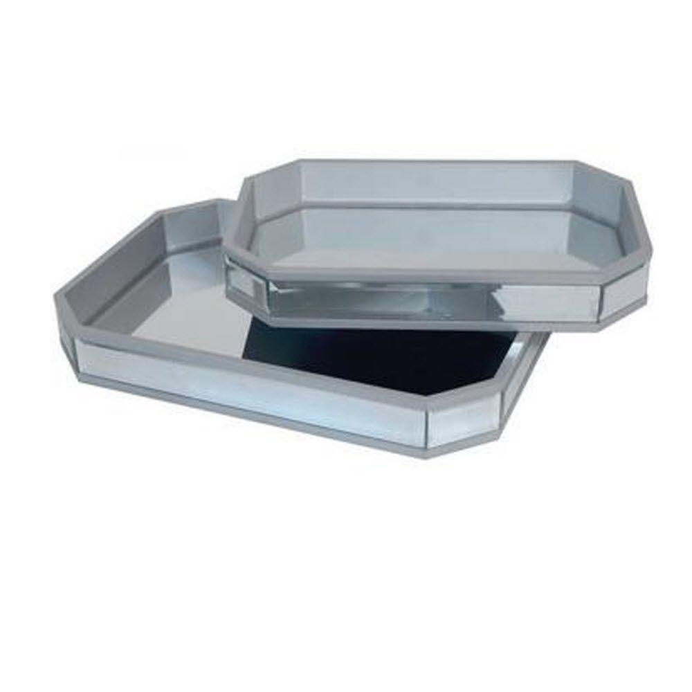 Home Decorators Collection Marisol 18 in. W Mirrored Tray (Set of 2)