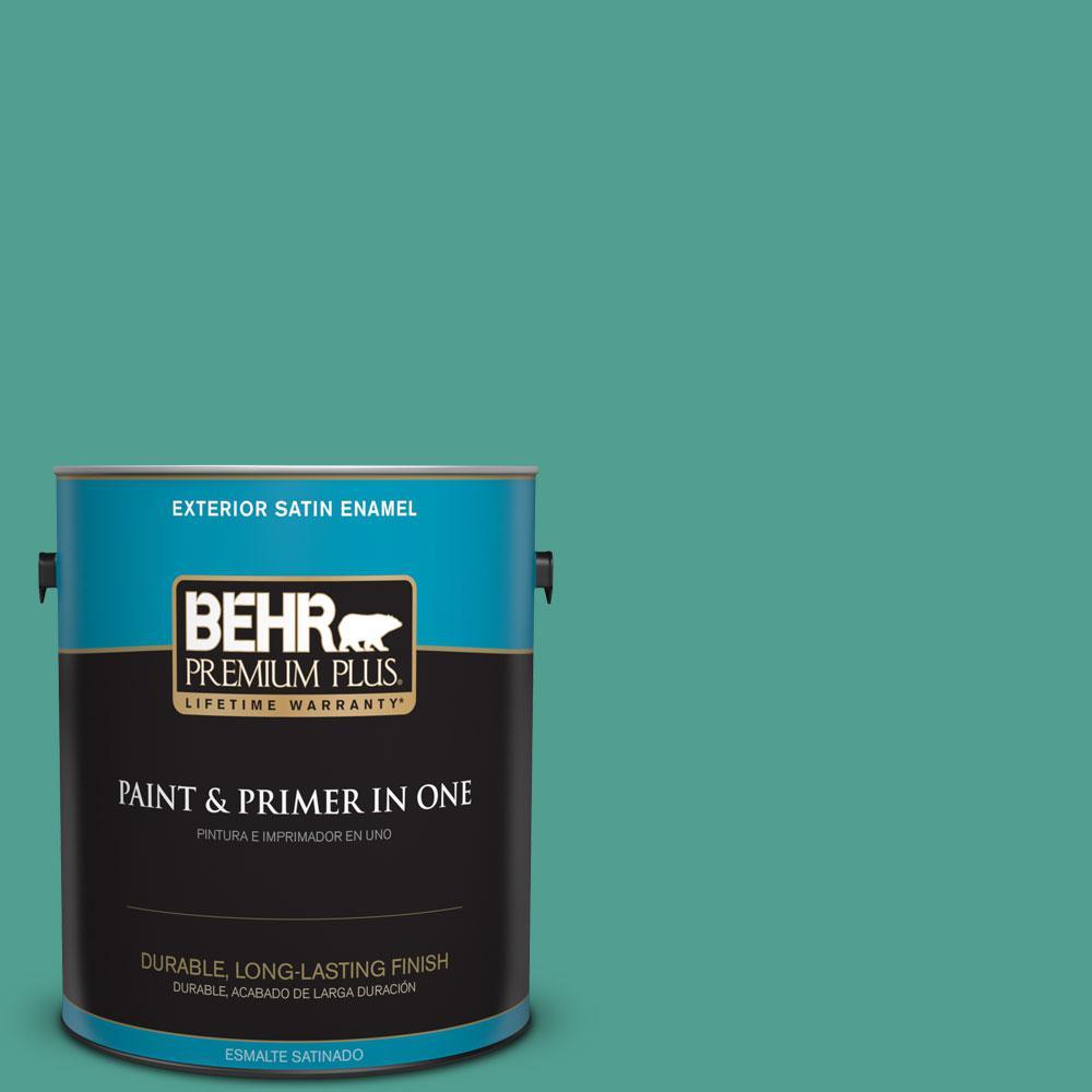 1 gal. #HDC-WR15-9 Aqua Revival Satin Enamel Exterior Paint