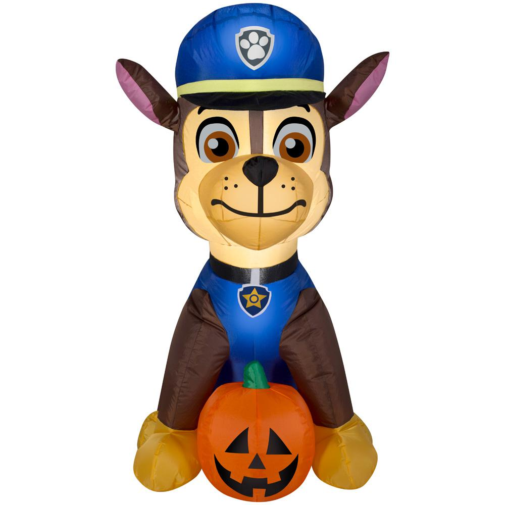 Gemmy 3 Ft Pre Lit Inflatable Paw Patrol Chase With Pumpkin Airblown