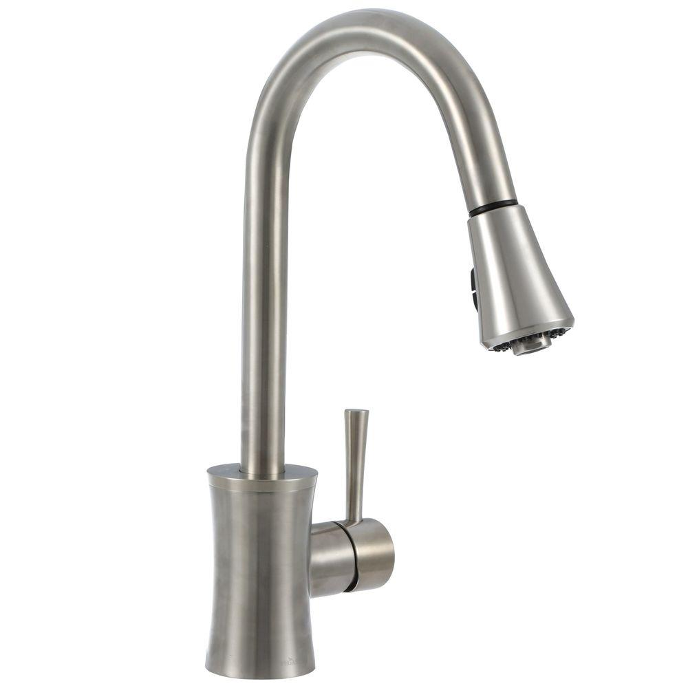 Pegasus Luca Single-Handle Pull-Down Sprayer Kitchen Faucet in Brushed Nickel
