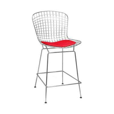 Mid Century Modern Chrome Wire Counter Stool with 24 in. Seat Height (Red)
