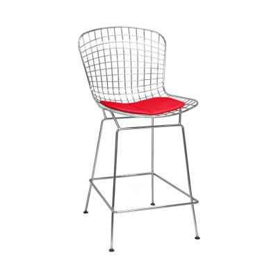 Mid Century Modern Chrome Wire Metal Bar Stool-Red