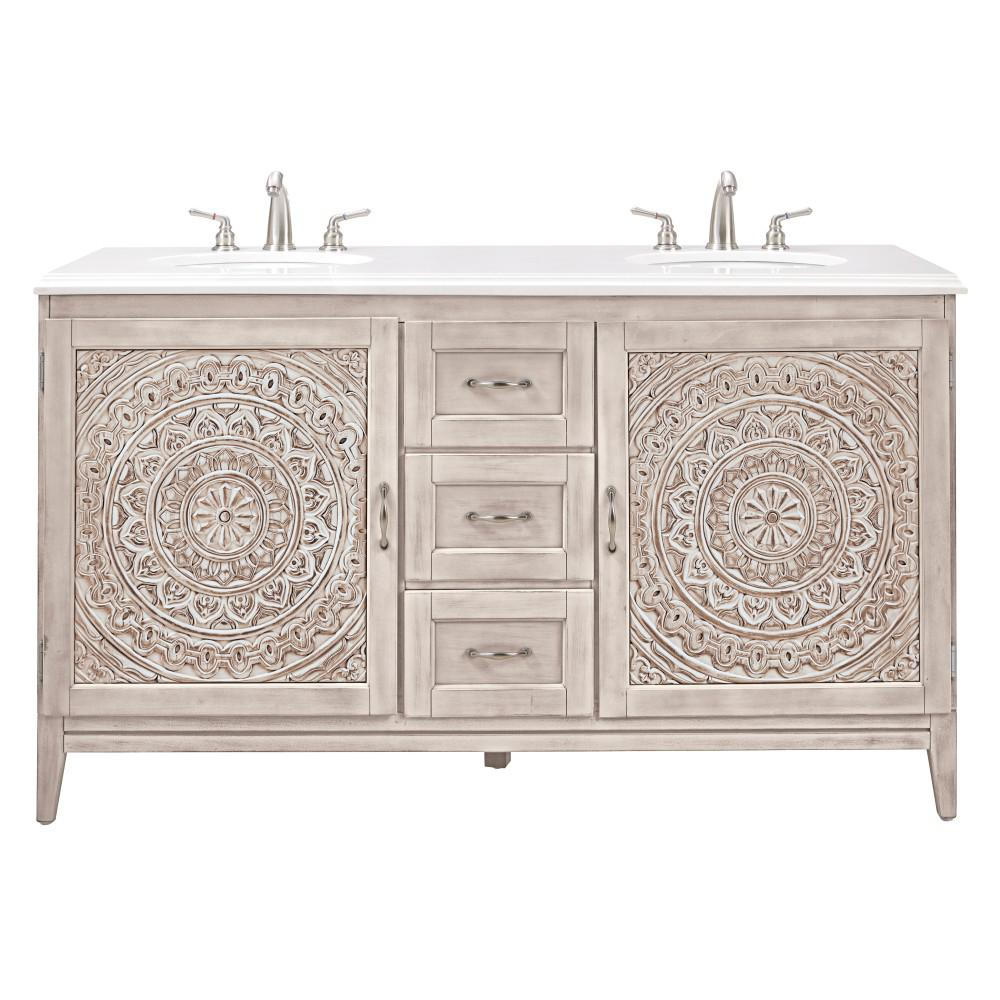 Home decorators collection chennai 61 in w double vanity in white wash with engineered stone Home decorators double vanity