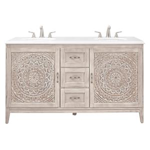 Home Decorators Collection Chennai 61 inch W Double Vanity in White Wash with Engineered Stone Vanity Top in Crystal... by Home Decorators Collection