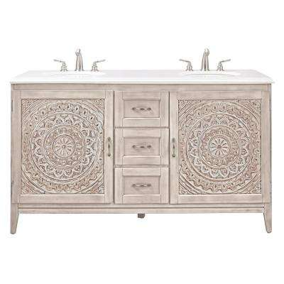 Chennai 61 in. W Double Vanity in White Wash with Engineered Stone Vanity Top in Crystal White with White Basins