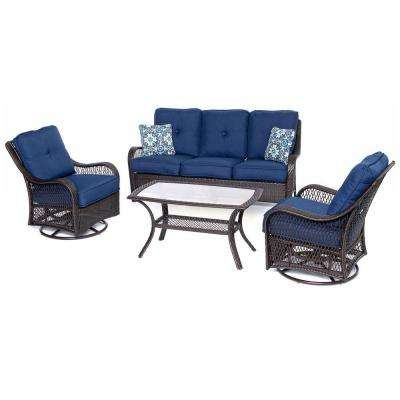 Orleans Brown 4-Piece All-Weather Wicker Patio Deep Seating Set with Navy Blue Cushions