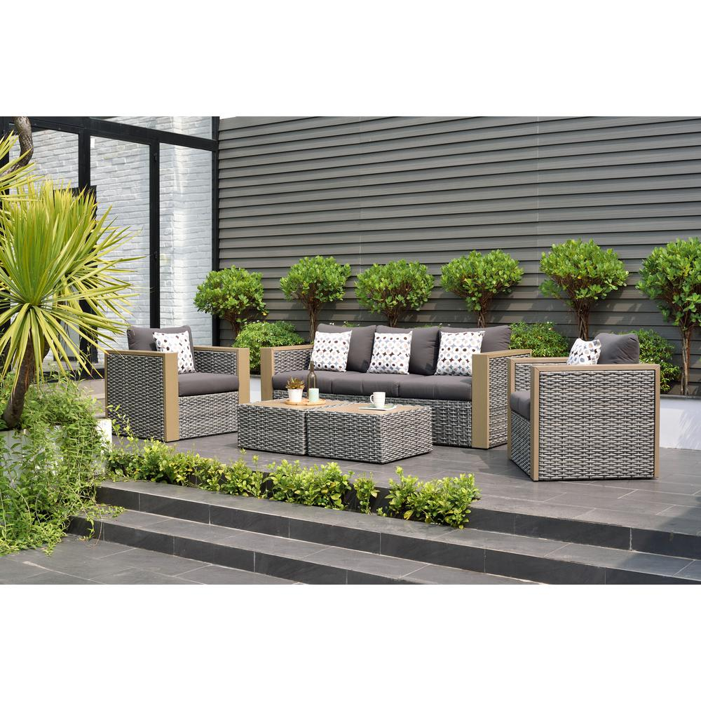 atlantic contemporary lifestyle mustang 5 piece all weather wicker patio conversation set with. Black Bedroom Furniture Sets. Home Design Ideas