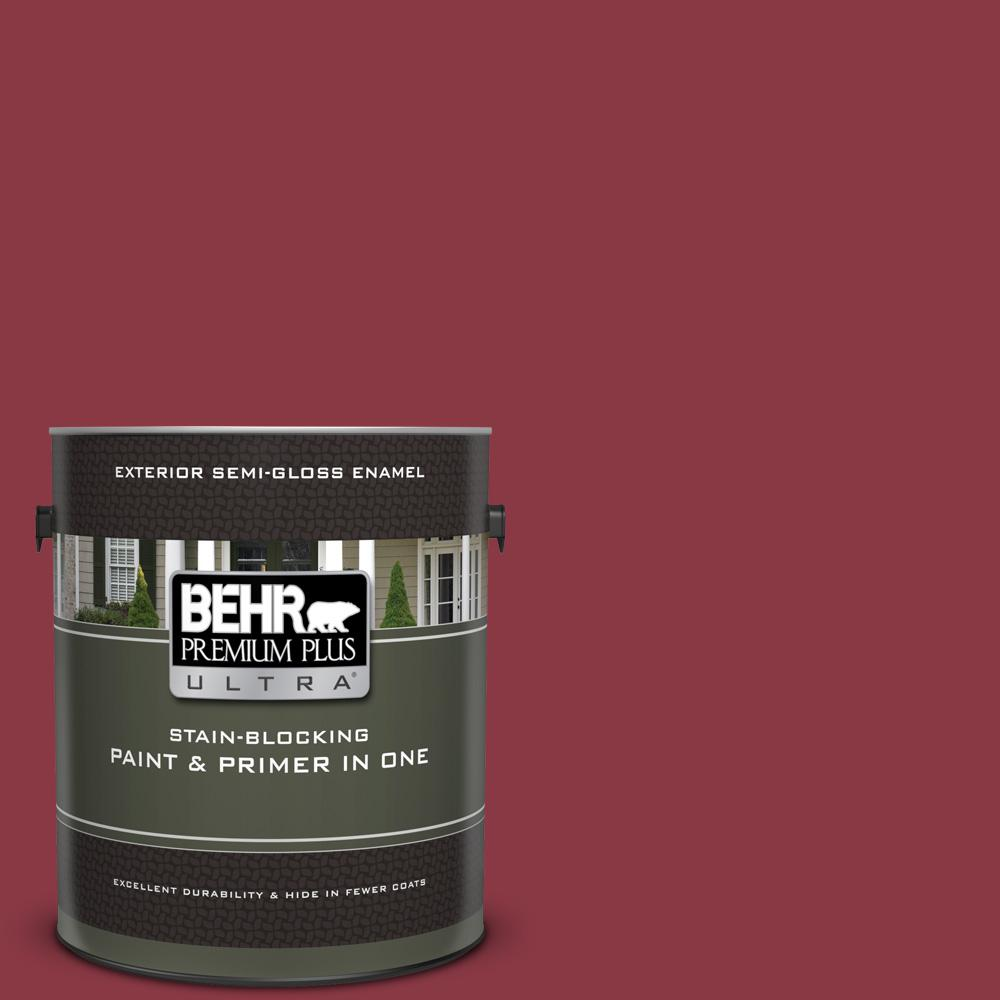 BEHR Premium Plus Ultra 1 gal  #PPU1-10 Forbidden Red Semi-Gloss Enamel  Exterior Paint and Primer in One