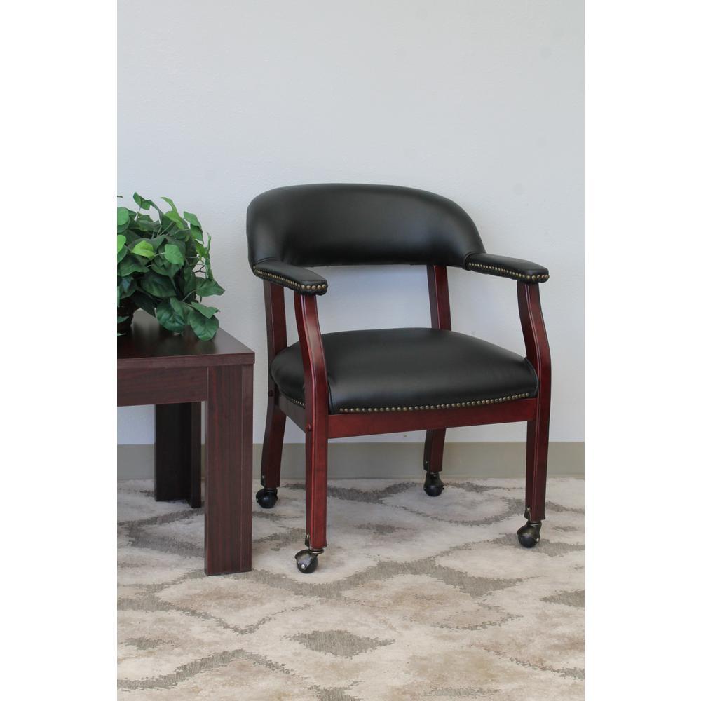 Black Vinyl Captainu0027s Chair