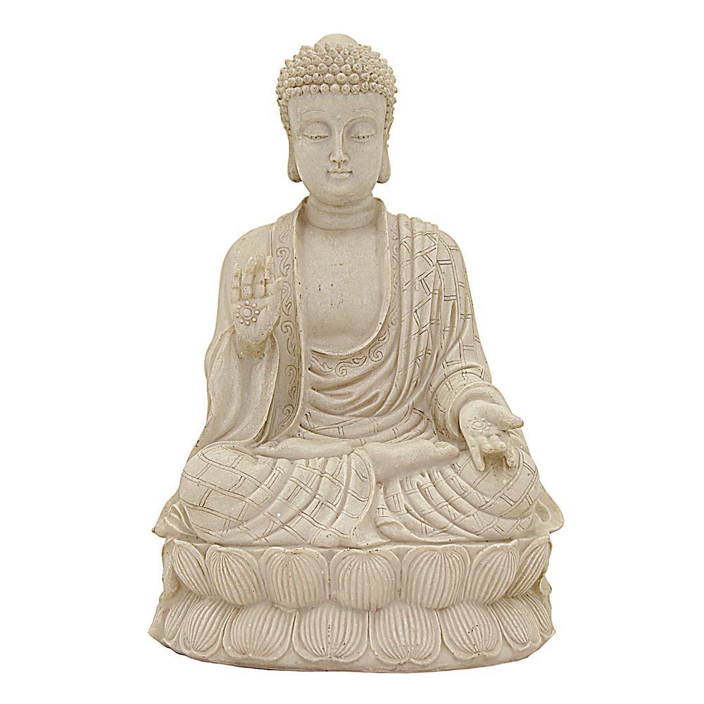 8 in. x 7 in. Sitting Buddha in White