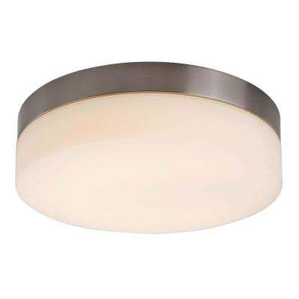 1-Light Integrated LED Flush Mount Ceiling Light in Brushed Nickel