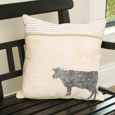 Farmhouse Multicolored Striped 18 in x 18 in Throw Pillow Cover