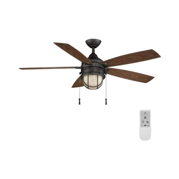Seaport 52 in. LED Natural Iron Ceiling Fan with Light and WiFi Remote Control works with Google and Alexa