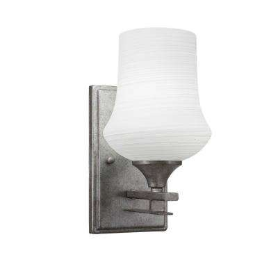 6.25 in. Aged Silver Sconce with 5 in. Cayenne Linen Glass