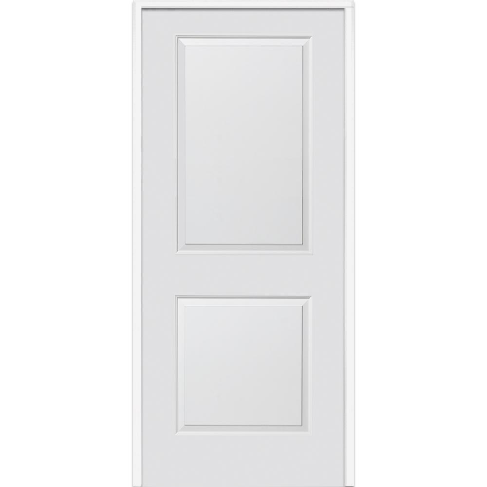 30 in. x 80 in. Smooth Carrara Left-Hand Solid Core Primed