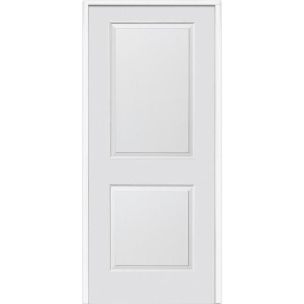 34 in. x 80 in. Smooth Carrara Left-Hand Solid Core Primed Molded Composite Single Prehung Interior Door