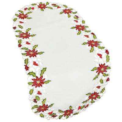 16 in. x 34 in. Poinsettia Lace Embroidered Cutwork Table Runner