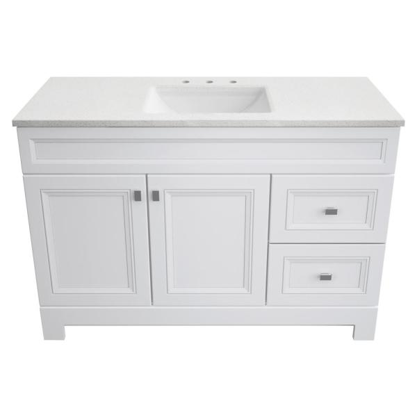 Home Decorators Collection Sedgewood 48 1 2 In W Bath Vanity In White With Solid Surface Technology Vanity Top In Arctic With White Sink Pplnkwht48d The Home Depot