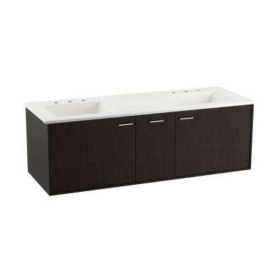 Jute 60 in. W Wall-Hung Vanity in Satin Oak with Marble Vanity Top in Carrara with White Basins
