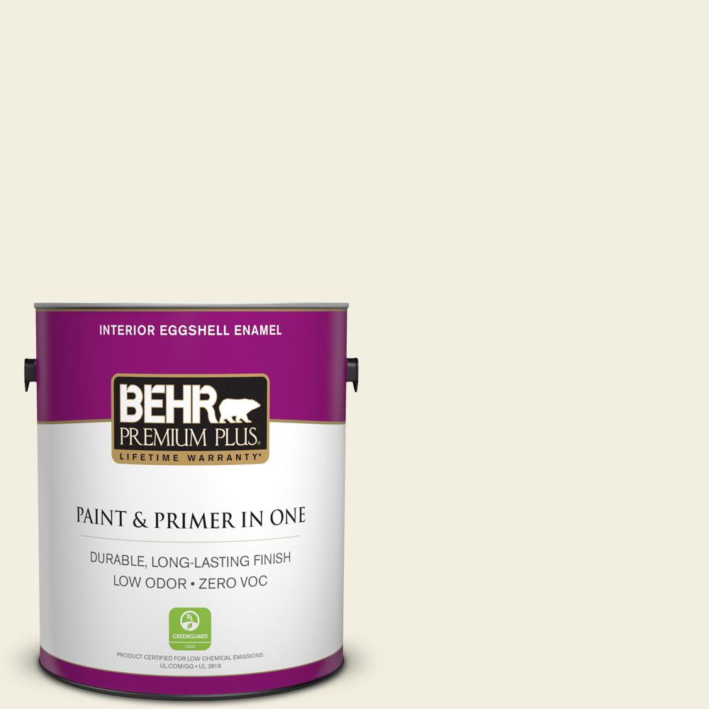 BEHR Premium Plus 1 gal. #GR-W1 White Wool Eggshell Enamel Zero VOC Interior Paint and Primer in One