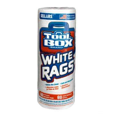 60-Count White Rags Roll (30 Pack)