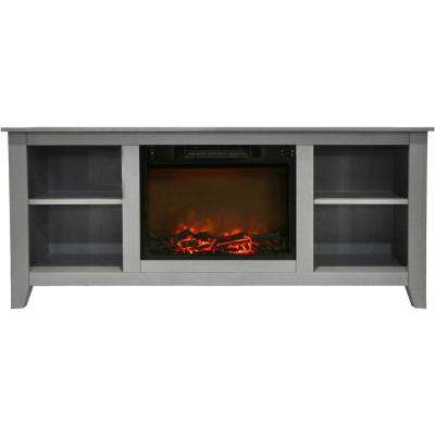 Santa Monica 63 in. Electric Fireplace and Entertainment Stand in Gray with 1500-Watt Charred Log Insert