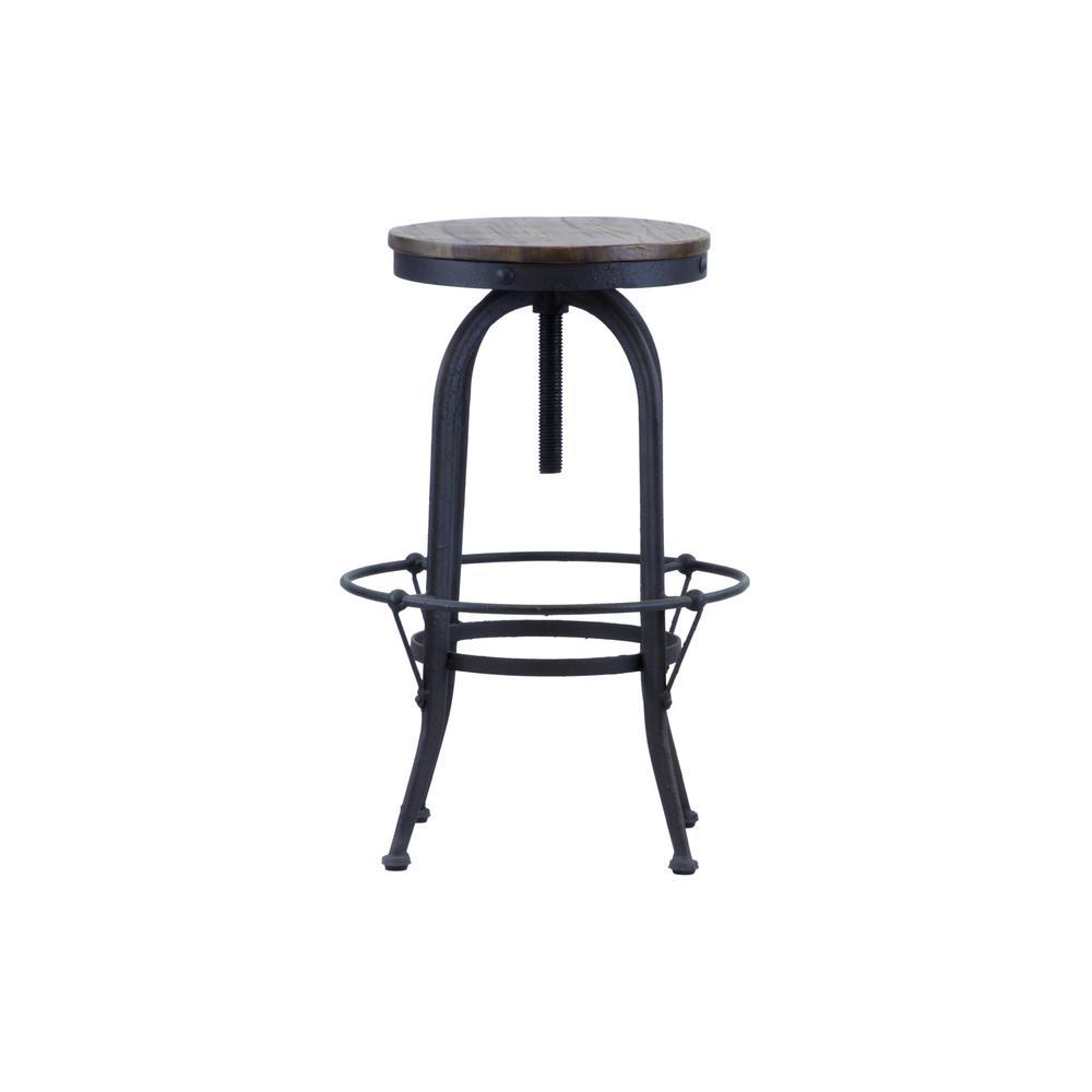 28 in. Black Reclaimed Wood Industrial Swivel Bar Stool