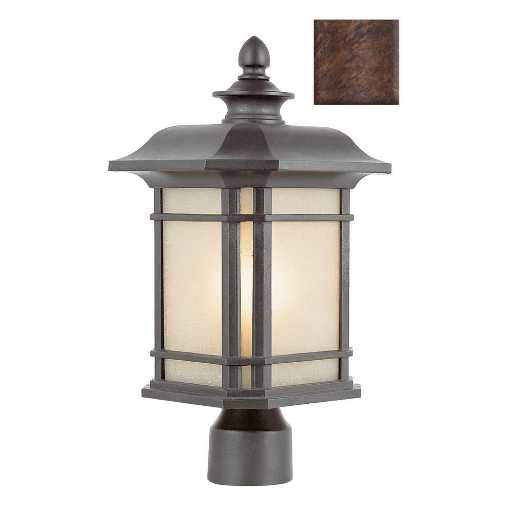 San Miguel 13.5 in. 1-Light Rust Outdoor Postmount Lantern