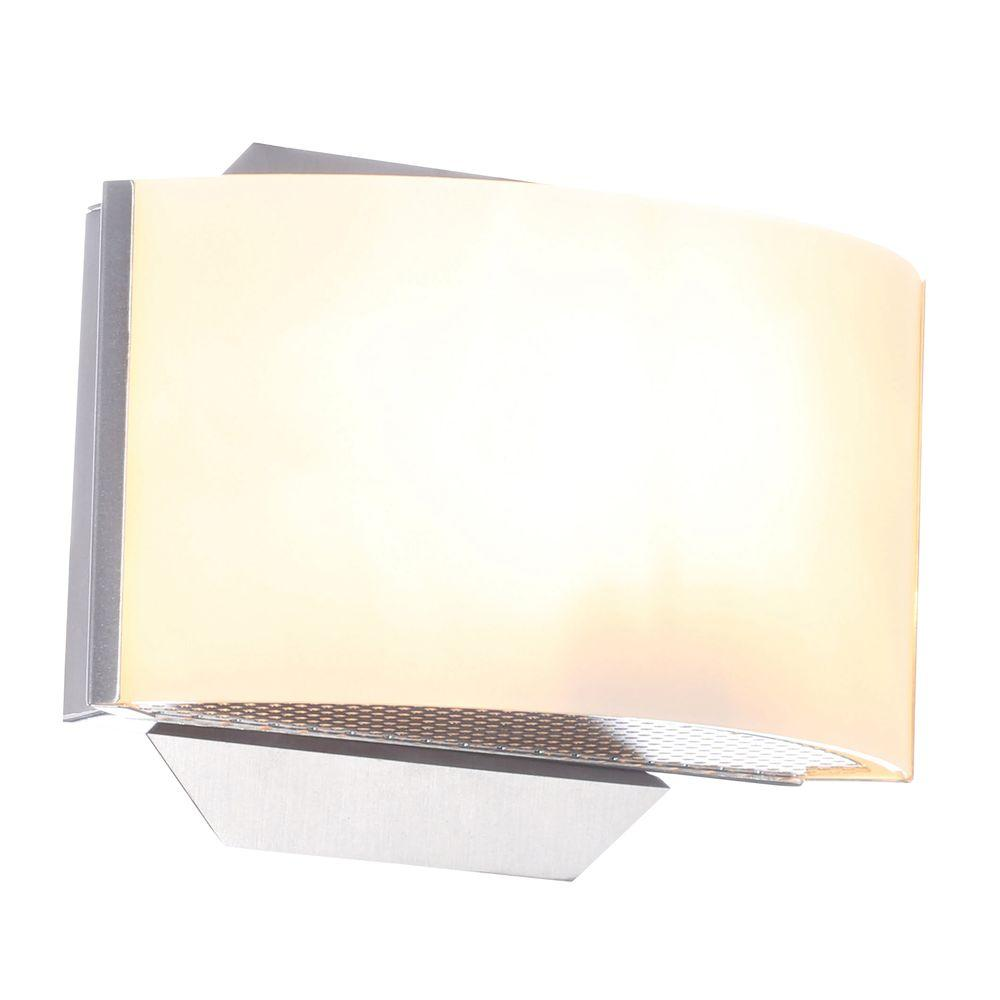 hampton bay dakota 1-light satin nickel sconce with frosted glass