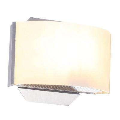 Dakota 1-Light Satin Nickel Sconce with Frosted Glass Shade