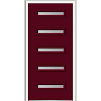 36 in. x 80 in. Davina Left-Hand Inswing 5-Lite Frosted Painted Fiberglass Smooth Prehung Front Door, 4-9/16 in. Frame