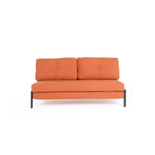 59.4 in. Orange Fabric 2-Seater Full Sleeper Sofa Bed with Removable Cushions