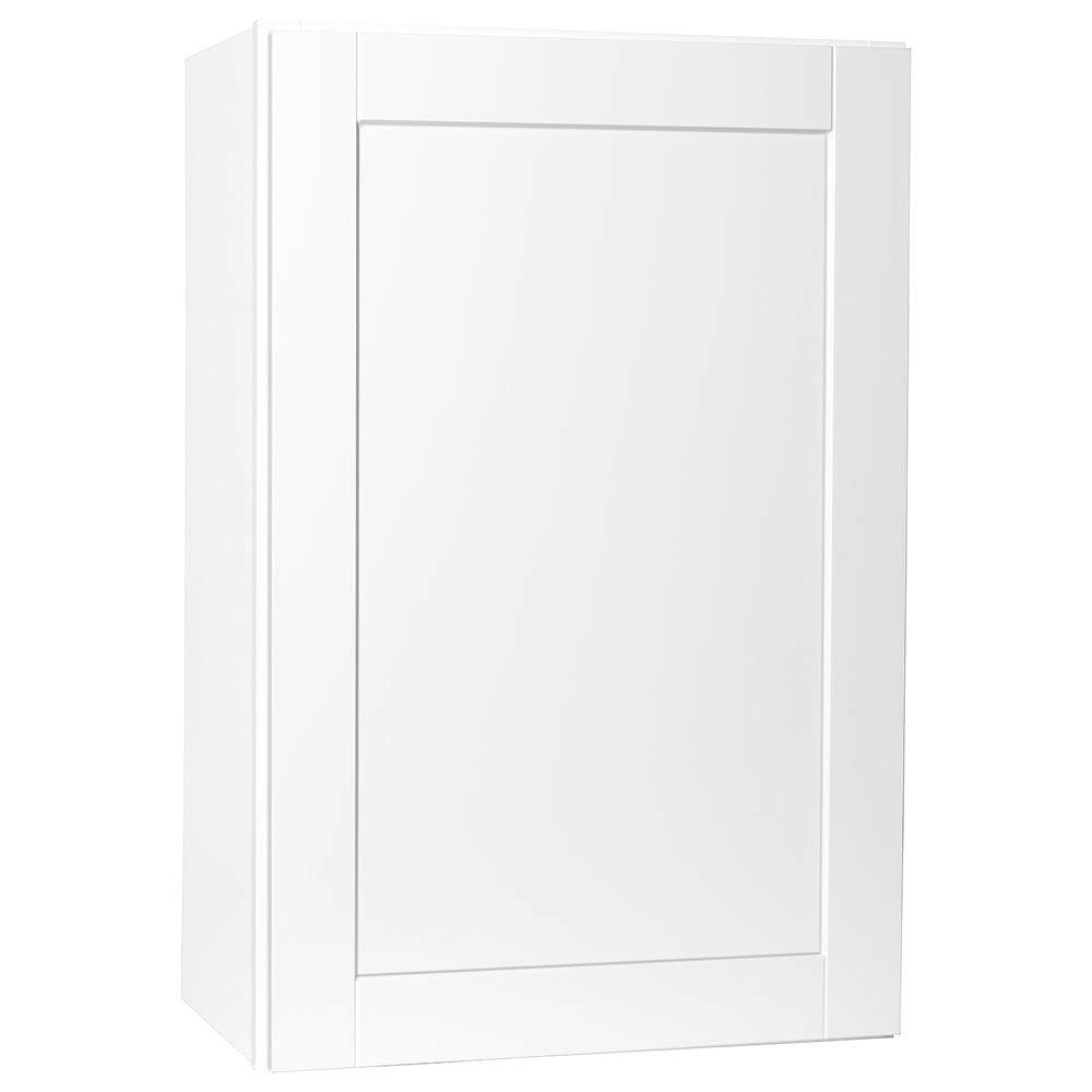 Hampton Bay Shaker Assembled 24x36x12 in. Wall Kitchen Cabinet in Satin White