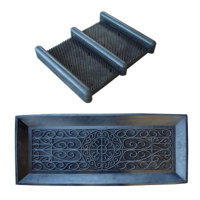 Black 14 in. x 34 in. Rubber Boot Tray with Heavy-Duty Rubber Boot and Shoe Scrub Brush Mat