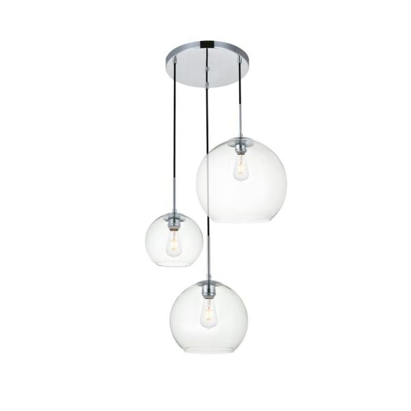 Timeless Home Burns 3-Light Chrome Pendant w/7.9 in./9.8 in./11.8 in. W x 7.1 in./8.9 in./10.6 in. H Clear Glass Shade