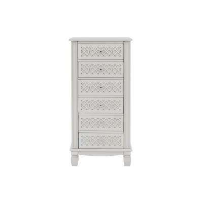 StyleWell 6 Drawer Biscuit Beige Wood Jewelry Armoire with Inset Detail (20 in W. X 40.5 in H.)