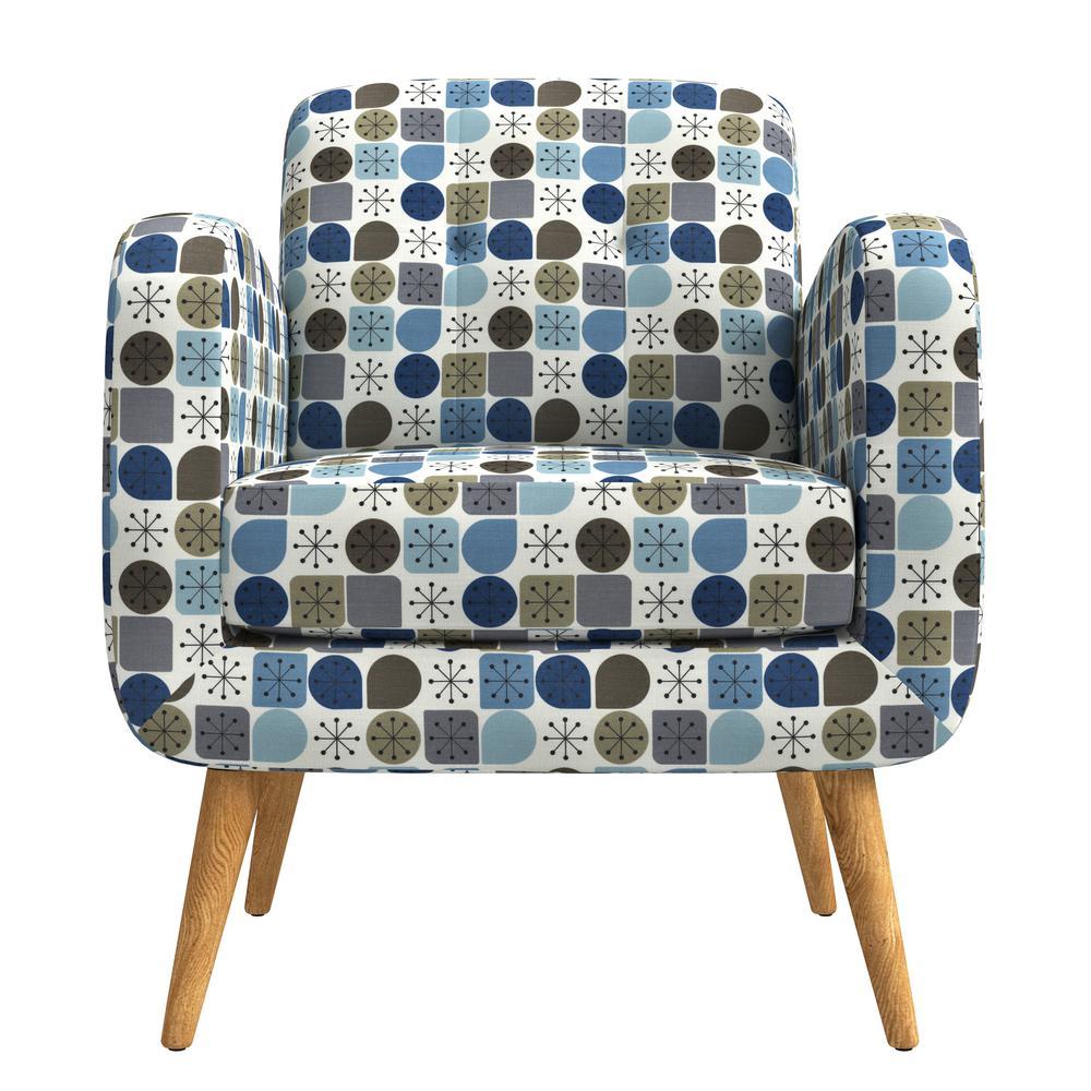 Kingston Blue Starlight Print Mid Century Modern Arm Chair