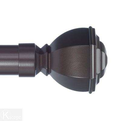 10 ft. Non-Telescoping Curtain Rod 1-1/8 in. in Oil Rubbed Bronze with Venice Finials