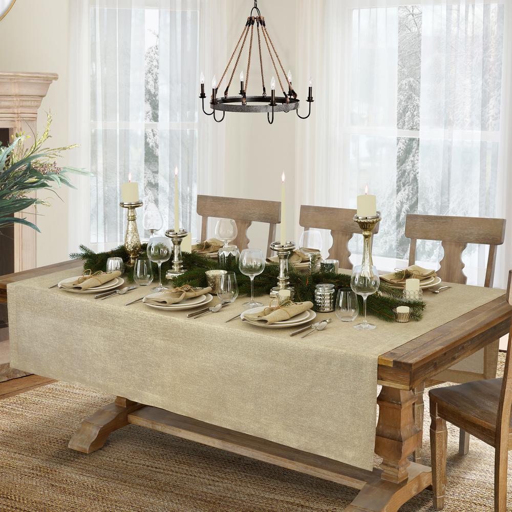 La Classica 70 in. W x 126 in. L Fabric Tablecloth in Natural/Gold