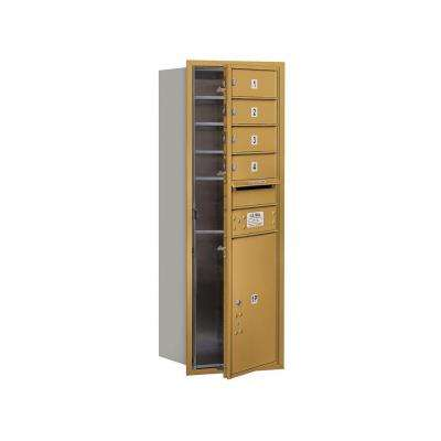 3700 Series 41 in. 11 Door High Unit Gold Private Front Loading 4C Horizontal Mailbox with 4 MB1 Doors/1 PL5